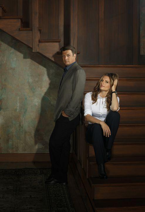 (6. Staffel) - Viel Zeit ist vergangen bis Castle (Nathan Fillion, l.) und Beckett (Stana Katic, r.) endlich zusammengefunden haben. Hat ihre Bezieh... - Bildquelle: 2013 American Broadcasting Companies, Inc. All rights reserved.