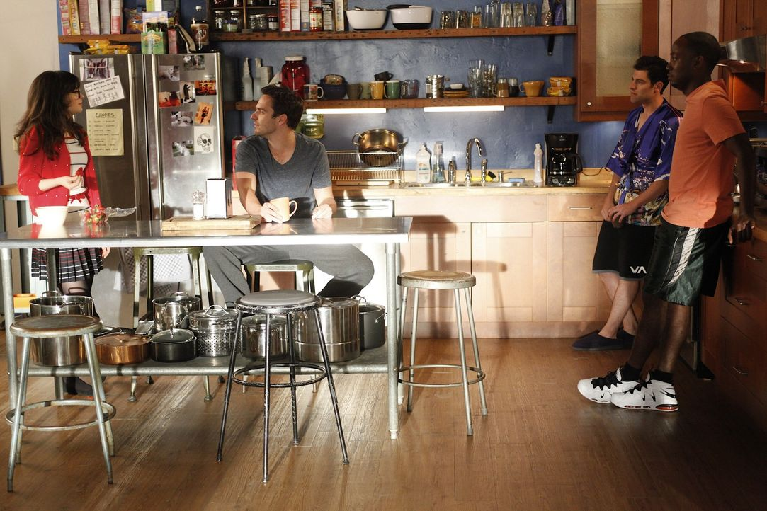 Der Trennungskaktus: Jess (Zooey Deschanel, l.), Schmidt (Max Greenfield, 2.v.r.), Nick (Jake M. Johnson, 2.v.l.) und Winston (Lamorne Morris, r.) ... - Bildquelle: 20th Century Fox