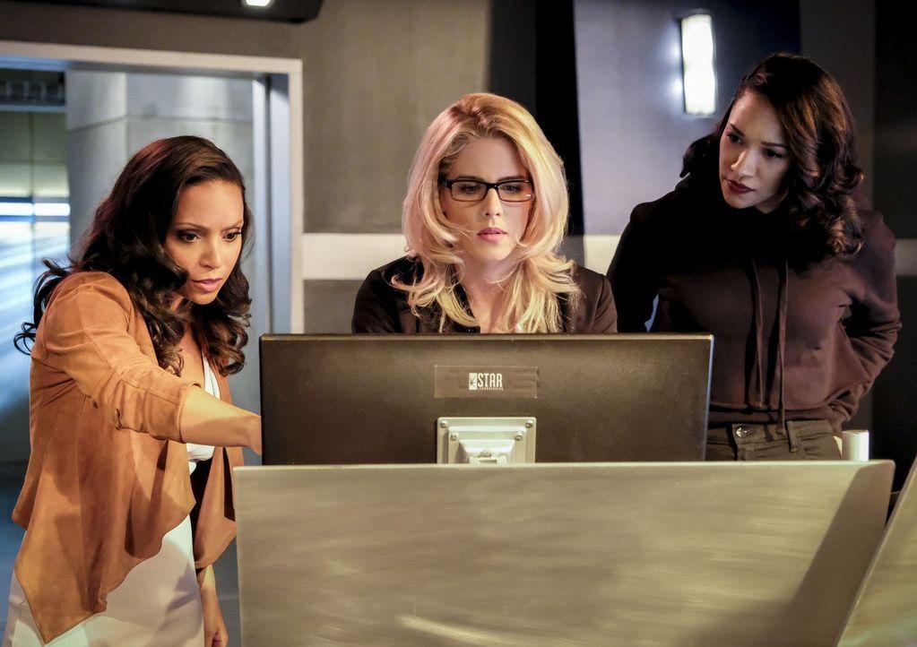 Cecile (Danielle Nicolet, l.), Felicity (Emily Bett Rickards, M.) und Iris (Candice Patton, r.) verleben einen ganz anderen Junggesellinnenabschied,... - Bildquelle: 2017 Warner Bros.