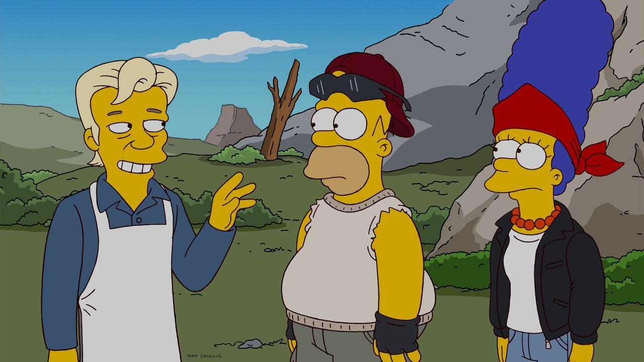 Nach dem Rauswurf aus Springfield verlassen Homer (M.), Bart, Marge (r.), Maggie und Lisa ihre Heimatstadt und schließen sich einer autarken Gemein... - Bildquelle: und TM Twentieth Century Fox Film Corporation - Alle Rechte vorbehalten