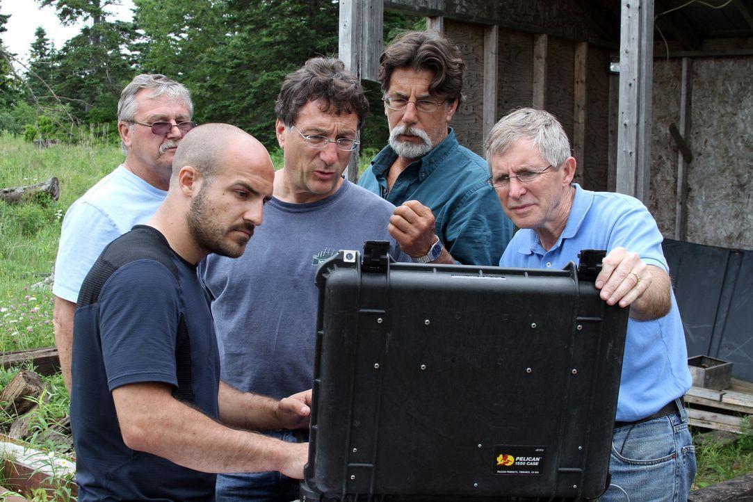 "Die Doku ""Oak Island - Fluch und Legende"" begleitet die Brüder Marty (3.v.l.) und Rick Lagina (2.v.r.) sowie David Blankenship (l.), Jack Begley (2.... - Bildquelle: 2014 A&E Television Networks, LLC. All Rights Reserved/ PROMETHEUS ENTERTAINMENT"