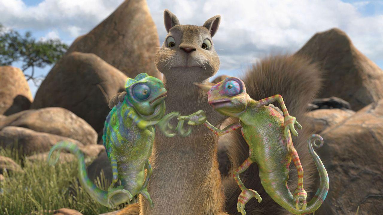 Eichhörnchen Benny (M.) muss sich mit einigen Chamäleons anlegen, die sich nach und nach als große Hilfe herausstellen ... - Bildquelle: Disney Enterprises, Inc.  All rights reserved