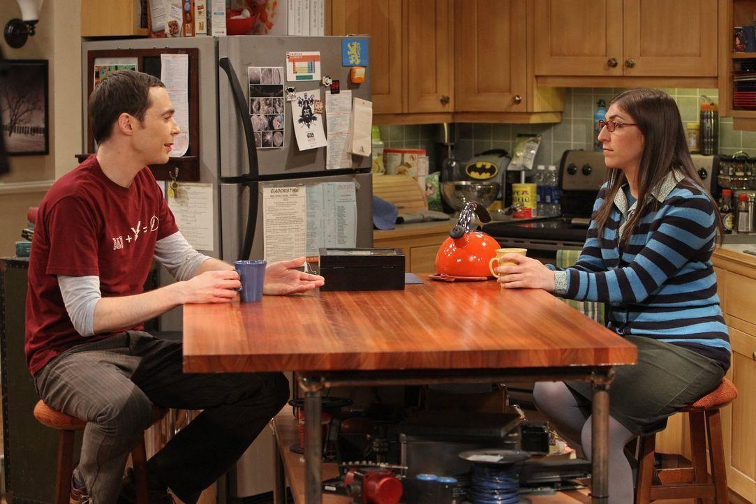 Während Raj ein Geheimnis über Lucy herausfindet, versucht Amy (Mayim Bialik, r.) Sheldon (Jim Parsons, l.) davon abzubringen, Dinge immer zwanghaft... - Bildquelle: Warner Bros. Television