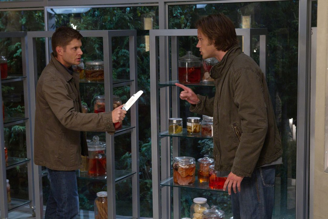 Als Dean (Jensen Ackles, l.) bewusst wird, das Sam (Jared Padalecki, r.) eindeutig nicht der ist, der er sein sollte, kann er sich nicht länger zurü... - Bildquelle: Warner Bros. Television