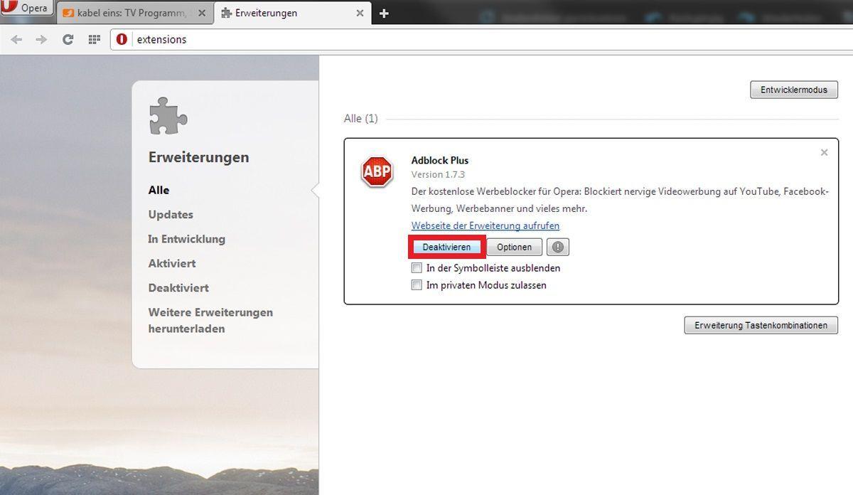 Opera: AdBlocker deaktivieren 2