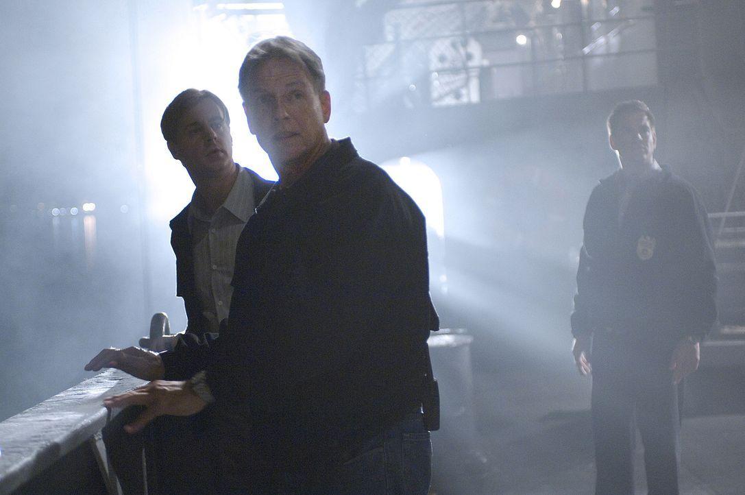 Auf einem geheimen Navy-Forschungsschiffs wird eine Leiche gefunden. Gibbs (Mark Harmon, M.), McGee (Sean Murray, l.) und Tony (Michael Weathely, r.... - Bildquelle: CBS Television