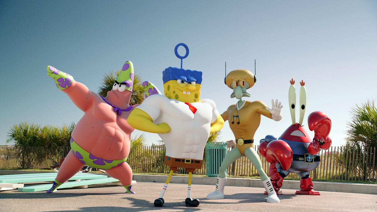 Bereit zum Angriff: (v.l.n.r.) Patrick, Spongebob, Thaddäus und Mr. Krabs kämpfen jenseits des Ozeans gegen den fiesen Piraten, um das Geheimrezept... - Bildquelle: (2016) Paramount Pictures and Viacom International Inc. All Rights Reserved. SPONGEBOB SQUAREPANTS is the trademark of Viacom International Inc.