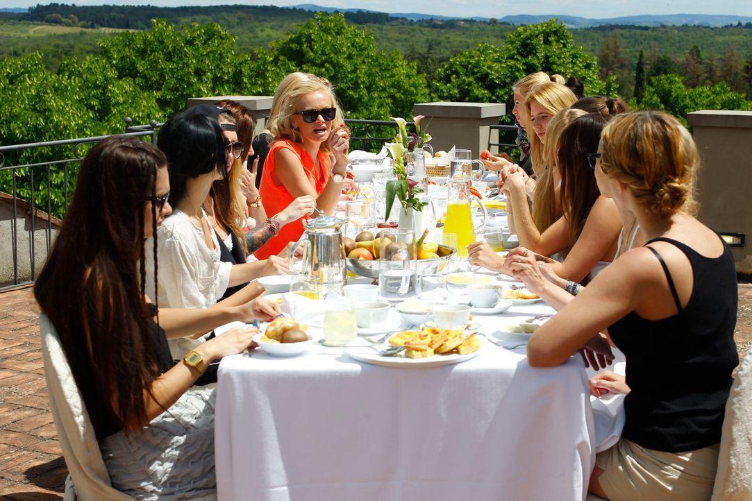 Die 18 Single-Damen und die drei Herren kommen in der traumhaften Finca in der Toskana an. Bei einem Luxuslunch sollen sich alle ein wenig besser ke... - Bildquelle: Richard Hübner ProSieben