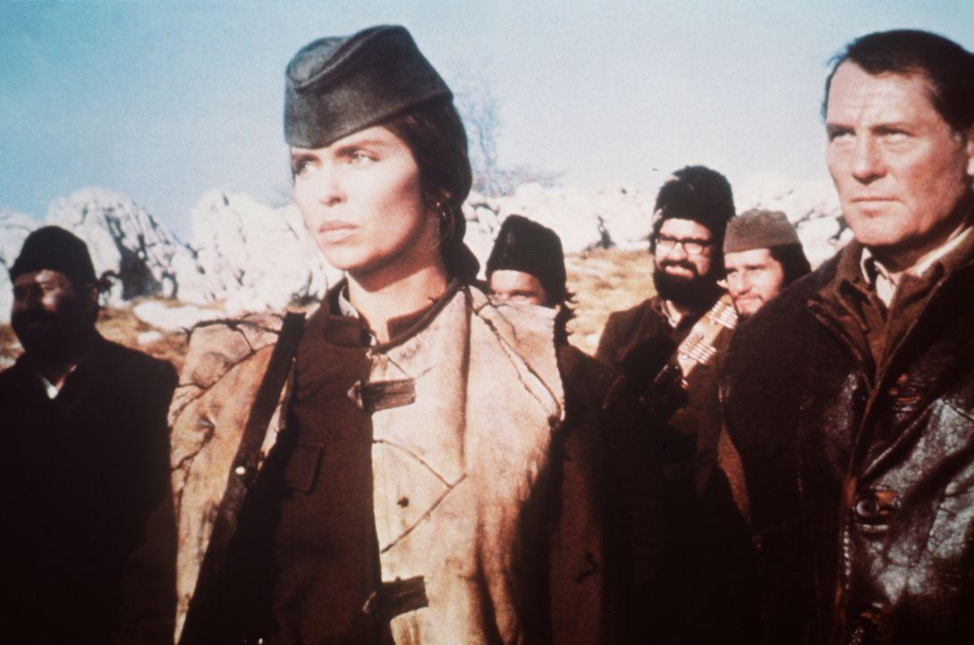 Partisanin Maritza (Barbara Bach, 2.v.l.) verhilft Major Mallory (Robert Shaw, r.) und seinem Kommando zur Flucht. - Bildquelle: Columbia Pictures