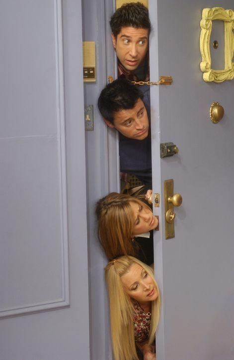 Obwohl Monica keine Lust hat, lässt sie sich von Joey (Matt LeBlanc, 2.v.oben), Ross (David Schwimmer, oben), Rachel (Jennifer Aniston, 2.v.unten) u... - Bildquelle: 2003 Warner Brothers International Television