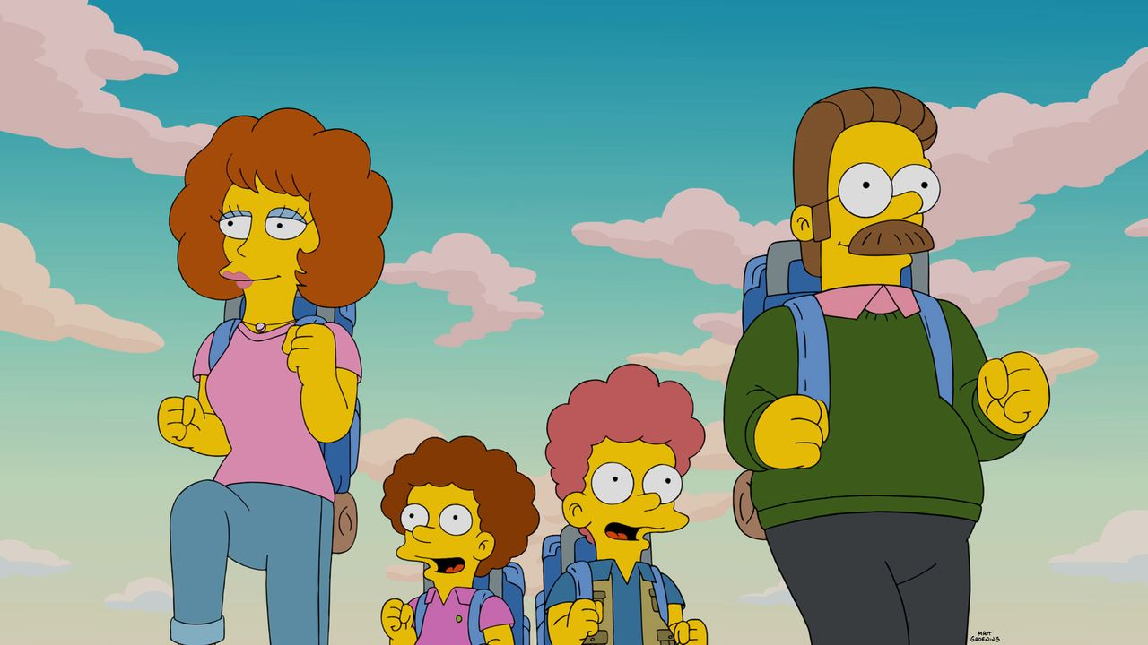 Homer erzählt Maggie eine Gute-Nacht-Geschichte und dabei geht es um einen Familienurlaub der Simpsons mit Ned (r.), Rod (2.v.r.), Todd (2.v.l.) und... - Bildquelle: 2015 Fox and its related entities.  All rights reserved.
