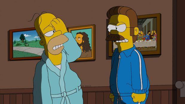 Die Simpsons - Homer (l.) lädt sich selbst zum Frühstück bei Ned Flanders (r....