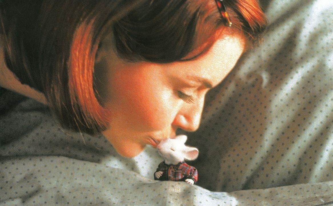 Bereits nach kurzer Zeit ist Mrs. Little (Geena Davis) total vernarrt in den kleinen Stuart. Seine süßen Knopfaugen und sein schelmisches Lächeln... - Bildquelle: Columbia TriStar Film