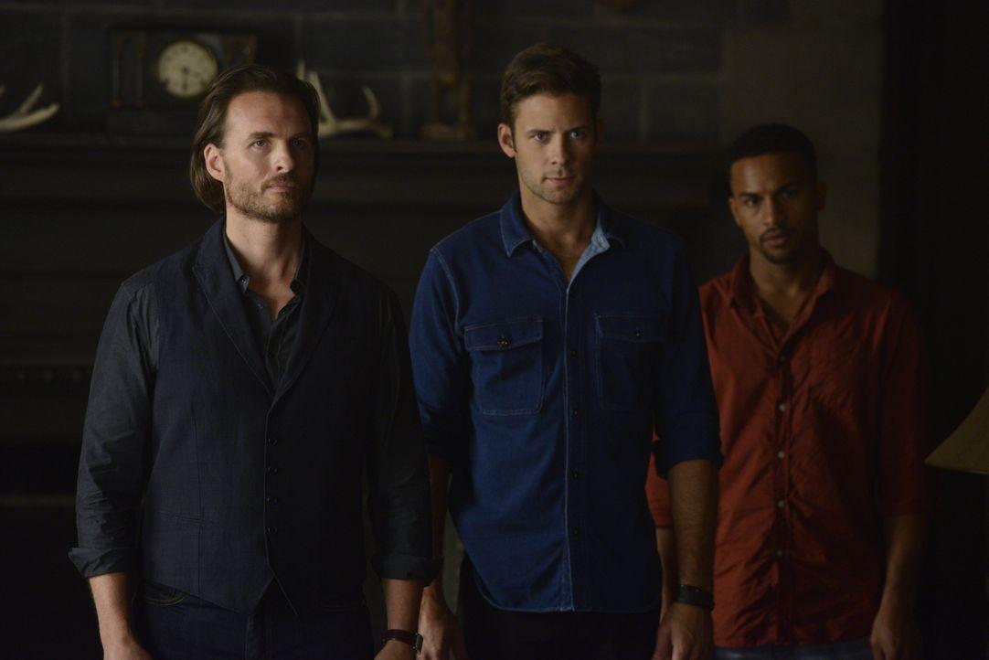 Lassen sich Jeremy (Greg Bryk, l.), Nick (Steve Lund, M.) und Logan (Michael Xavier, r.) auf die Hexen ein? - Bildquelle: 2015 She-Wolf Season 2 Productions Inc.