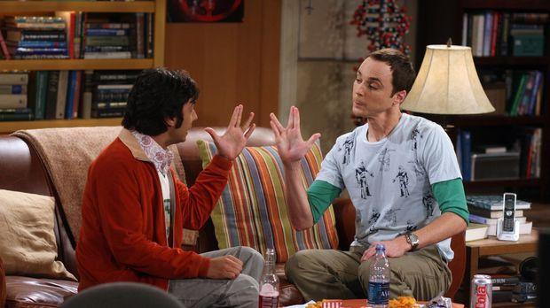 Sheldon (Jim Parsons, r.) und Raj (Kunal Nayyar, l.) können sich nicht einige...
