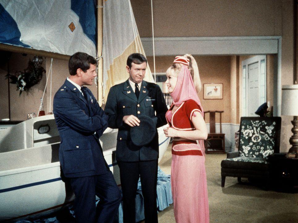 Tony (Larry Hagman, l.) und Roger (Bill Daily, M.) wollen sich ein Segelboot kaufen und akzeptiern nicht das Boot, das Jeannie (Barbara Eden, r.) fü... - Bildquelle: Columbia Pictures