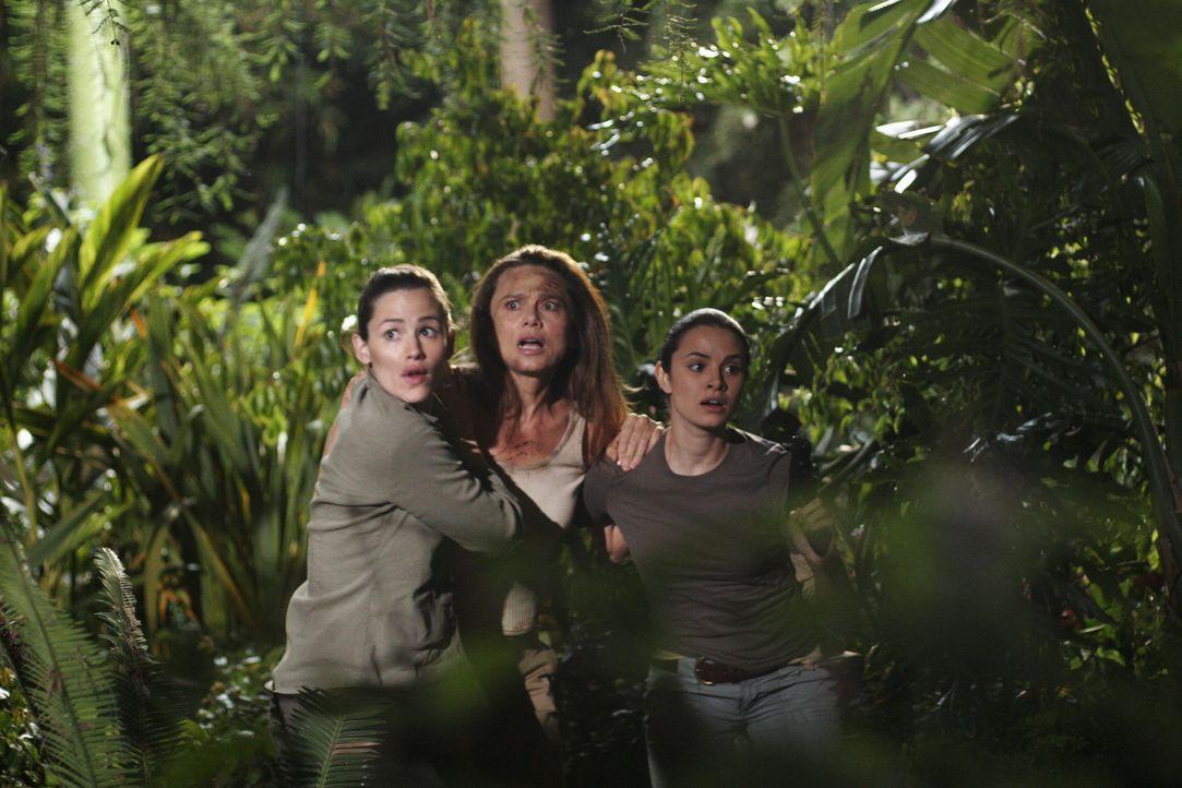Endlich gelingt es Sydney (Jennifer Garner, l.) und Nadia (Mia Maestro, r.), Irina (Lena Olin, M.) zu befreien, die von Elena nach Guatemala gebrach... - Bildquelle: Touchstone Television