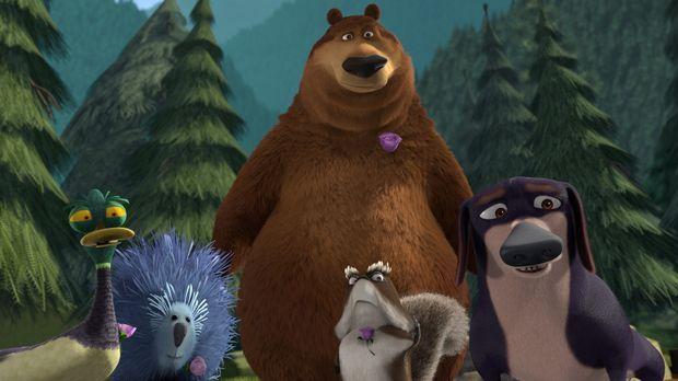 Serge (l.), Buddy (2.v.l.), Boog (M.), McSquizzy (2.v.r.) und Herr Wiener (r....