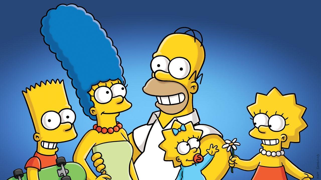 (27. Staffel) - Eine etwas ungewöhnliche Familie: Maggie (2.v.r.), Marge (2.v.l.), Homer (M.), Bart (l.) und Lisa Simpson (r.) ... - Bildquelle: 2015 Fox and its related entities.  All rights reserved.