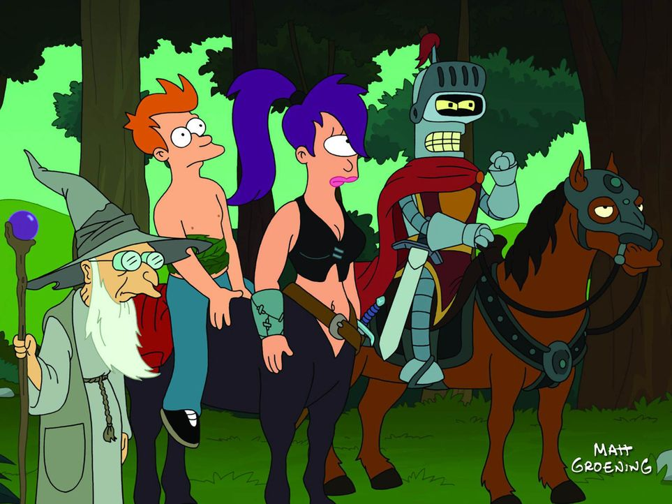 Traum oder Realität? Dr. Hubert (l.), Fry (.2.v.l.), Leela (2.v.r.) und Bender (r.) sind in einer Welt gefangen, die der Roboter für sein Rollenspie... - Bildquelle: 2008 Twentieth Century Fox Film Corporation. All rights reserved.