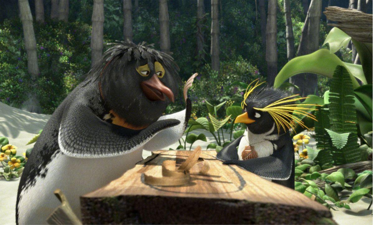 Pinguin Cody (r.) will auf Pen Gu Island unbedingt die Surfmeisterschaften gewinnen, doch das ist gar nicht so einfach. Da trifft er auf sein Idol B... - Bildquelle: 2007 Sony Pictures Animation Inc. All Rights Reserved.