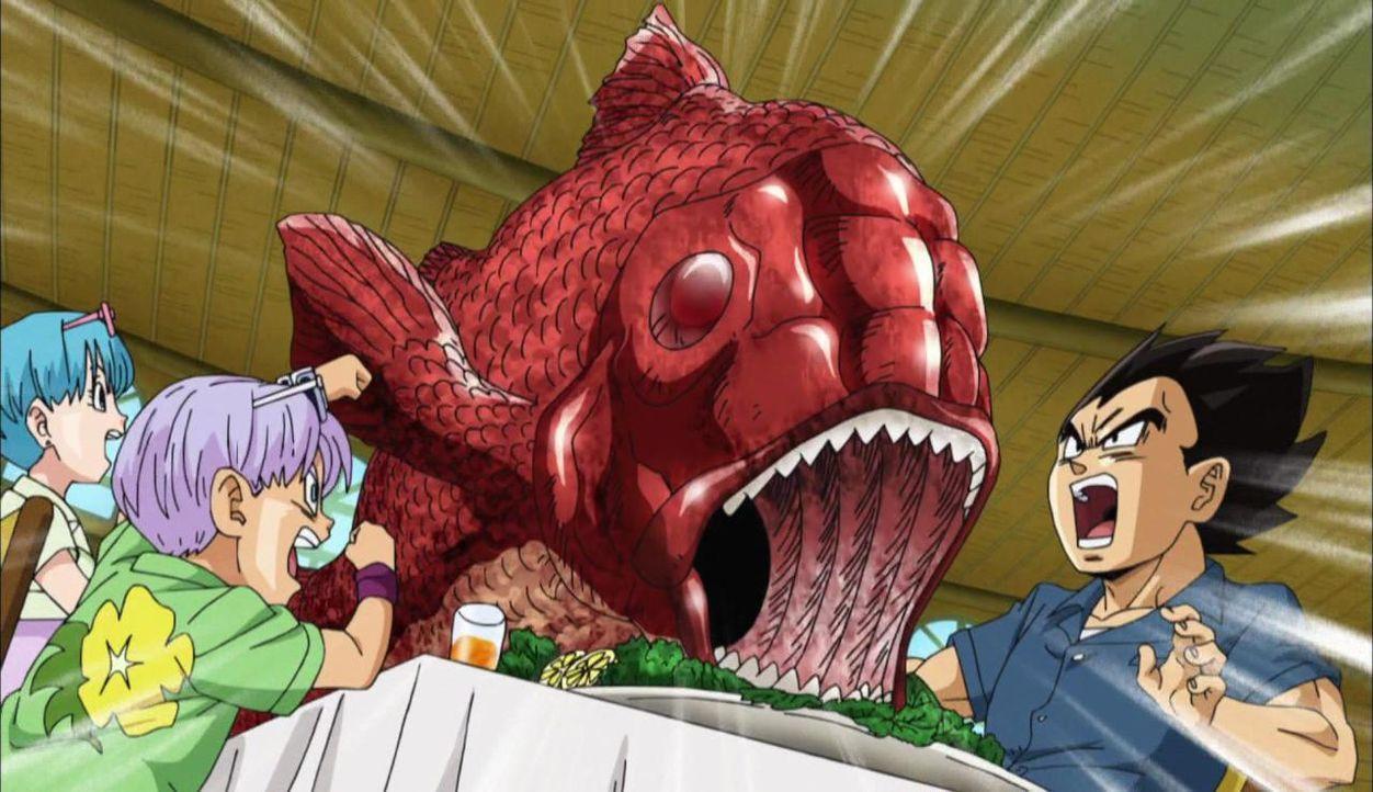"""Mit kleinen Fischen geben sich Trunks, Vegat und Bulma offenbar nicht ab in """"Dragon Ball Super"""" - Bildquelle: BIRD STUDIO/SHUEISHA, TOEI ANIMATION"""