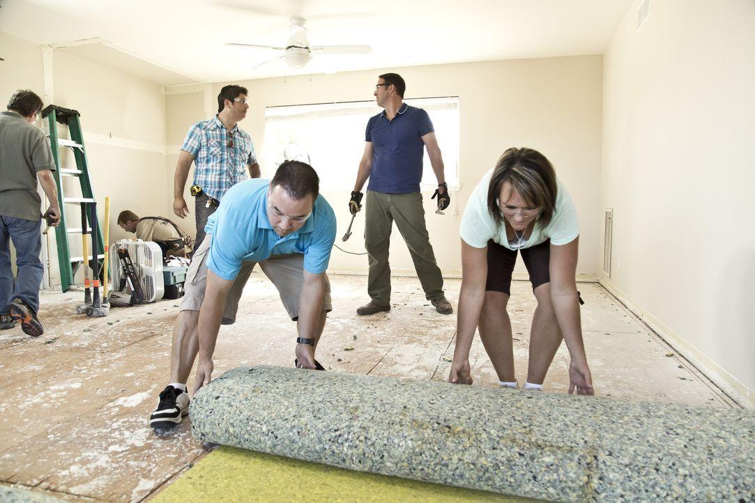 Der befleckte und veraltete Teppichboden wird mit Hilfe von Hauseigentümerin Kelli (r.) entfernt. Anstelle des Teppichs wird Josh (2.v.r) später ein... - Bildquelle: 2013,DIY Network/Scripps Networks, LLC. All Rights Reserved.