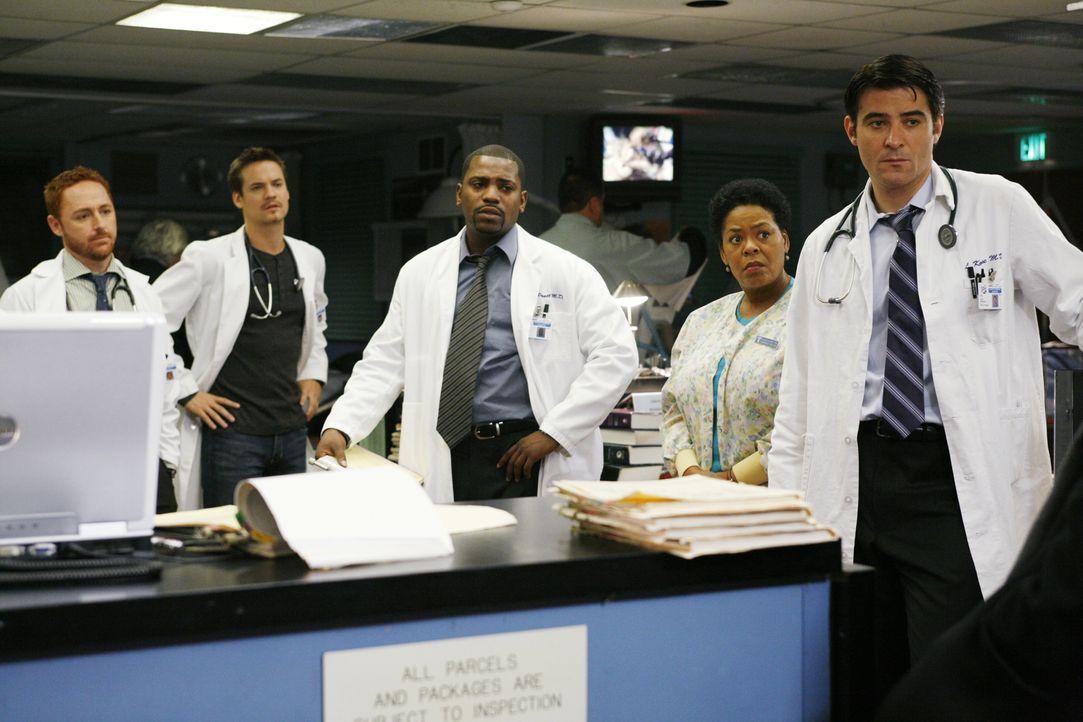 (13. Staffel) - Das Team der Notaufnahme: Dr. Morris (Scott Grimes, l.), Dr. Ray Bennett (Shane West, 2.v.r.), Dr. Gregory Pratt (Mekhi Phifer, M.),... - Bildquelle: Warner Bros. Television