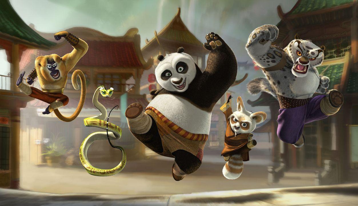 Unerwartet wird er ausgewählt, um eine alte Prophezeiung zu erfüllen. Doch dafür muss der große Panda Po (M.) eine alte Kampfkunst erlernen. Mit... - Bildquelle: Paramount Pictures