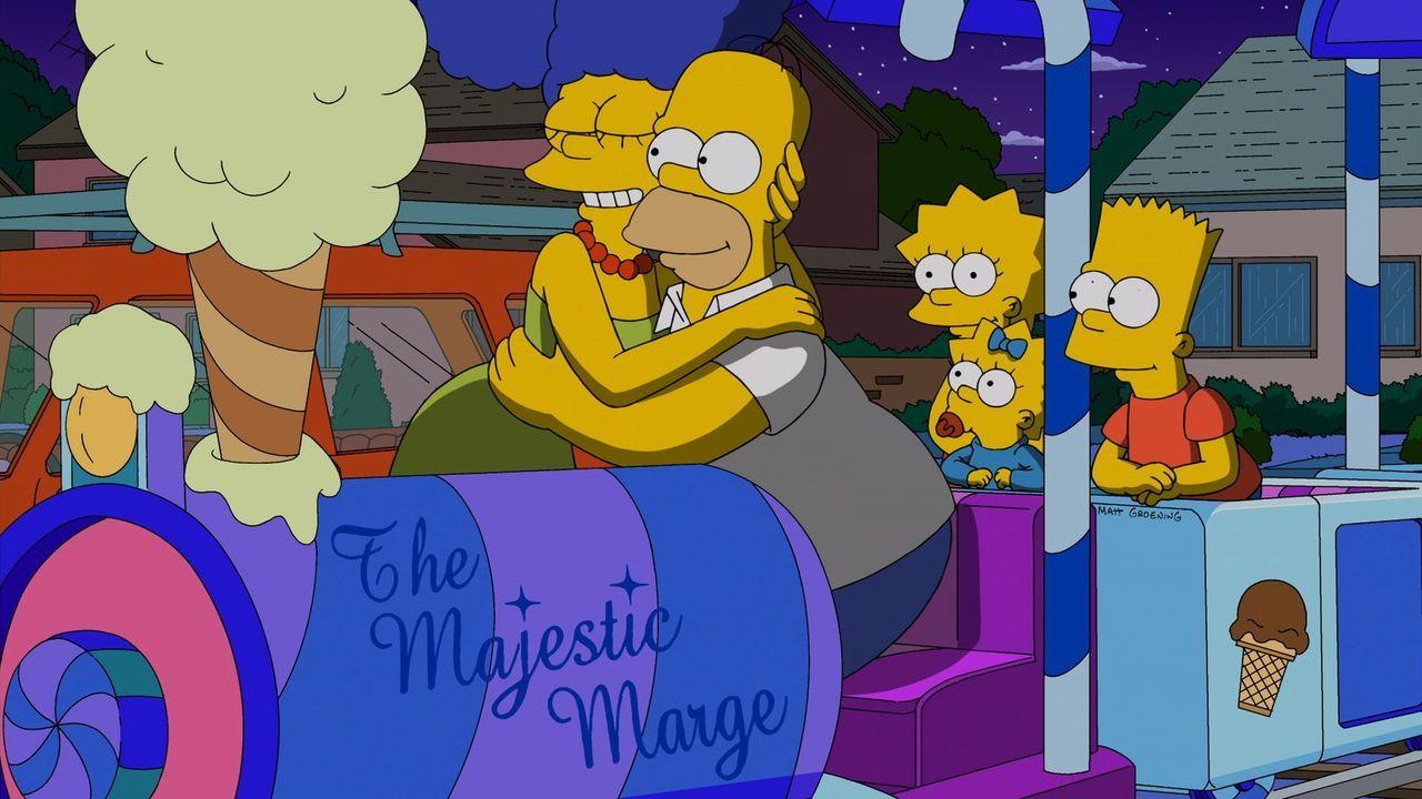 Erleben einen ganz besonderen Hochzeitstag: Marge (l.) und Homer (2.v.l.) mit ihren Kindern Lisa (M.), Maggie (2.v.r.) und Bart (r.) ... - Bildquelle: und TM Twentieth Century Fox Film Corporation - Alle Rechte vorbehalten