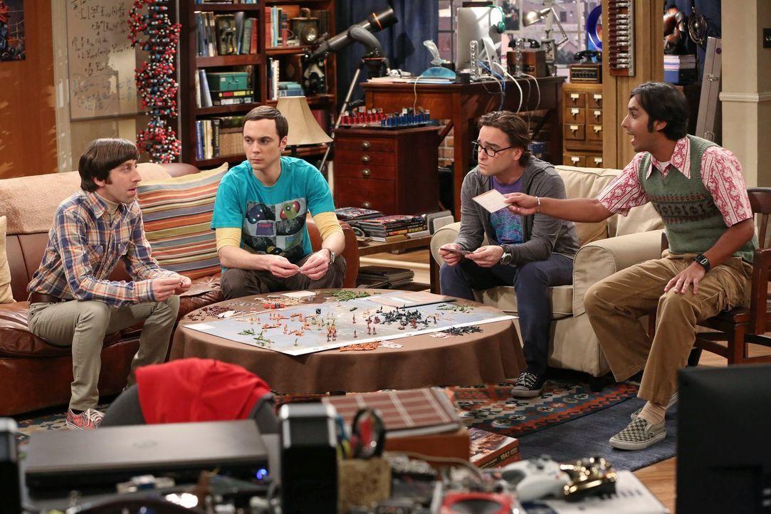 Ganz besondere Freunde: Howard (Simon Helberg, l.), Sheldon (Jim Parsons, 2.v.l.), Leonard (Johnny Galecki, 2.v.r.) und Raj (Kunal Nayyar, r.) ... - Bildquelle: Warner Brothers