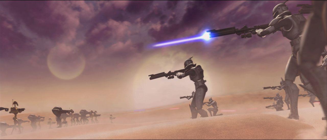 Graf Dooku treibt seine Droidenarmee unerbittlich gegen die intergalaktische Republik und ihre Klon-Armee ... - Bildquelle: 2008   Warner Bros. International Television