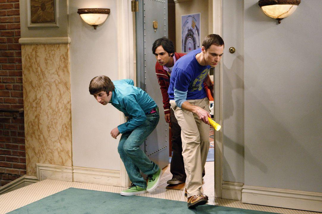 Was haben Sheldon (Jim Parsons, r.), Rajesh (Kunal Nayyar, M.) und Howard (Simon Helberg, l.) nur vor? - Bildquelle: Warner Bros. Television