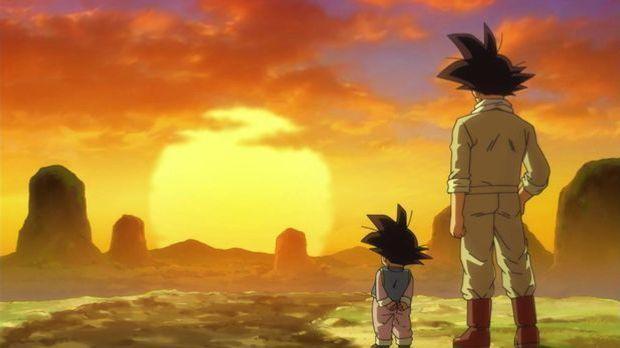 Son Goku und Son Goten beobachten den Sonnenuntergang