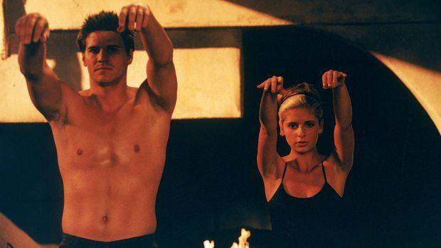 Angel (David Boreanaz, l.) und Buffy (Sarah Michelle Gellar, r.) stärken sich...
