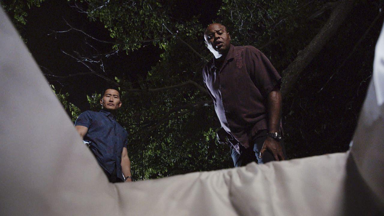 Für Lou (Chi McBride, r.) und Chin Ho (Daniel Dae Kim, l.) bringt die Halloweennacht einige gruselige Überraschungen mit sich ... - Bildquelle: Norman Shapiro 2016 CBS Broadcasting, Inc. All Rights Reserved