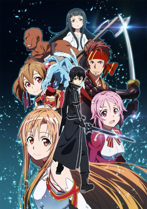 (1. Staffel) - Kazuto alias Kirito (M.), Asuna (vorne l.), Rika alias Lisbeth (vorne r.), Keiko alias Silica (M. l.), Ryotaro alias Klein (M. r.), M... - Bildquelle: REKI KAWAHARA/ASCII MEDIA WORKS/SAO Project