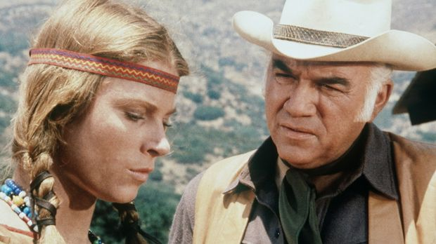 Ben Cartwright (Lorne Greene, r.) will Alicia Purcell (Mariette Hartley, l.),...