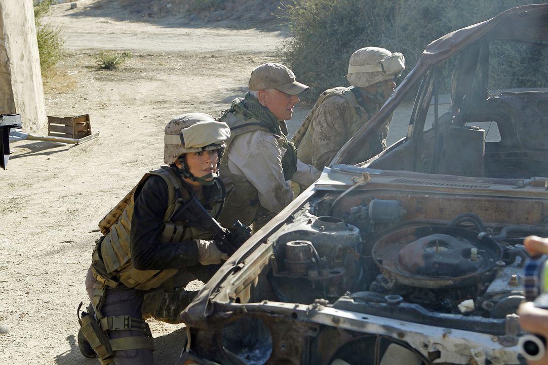 Das NCIS-Team sucht noch immer nach der verschwundenen Marinesoldatin Gabriela Flores. Die Ermittlungen führen Gibbs (Mark Harmon, M.) und Ziva (Cot... - Bildquelle: CBS Television