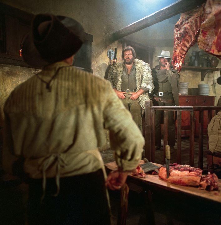 Mit den Gangstern Hutch (Bud Spencer, M.) und Cat (Terence Hill, r.) ist nicht zu spaßen. Sie wollen sich um jeden Preis ihren Anteil an der Beute e... - Bildquelle: Paramount Pictures