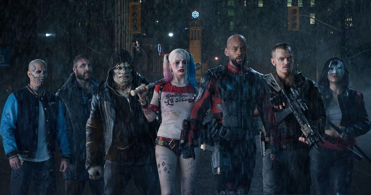 (v.l.n.r.) Diablo (Jay Hernandez); George Harkness / Captain Boomerang (Jai Courtney); Killer Croc (Adewale Akinnuoye-Agbaje); Harley Quinn (Margot... - Bildquelle: Warner Bros.
