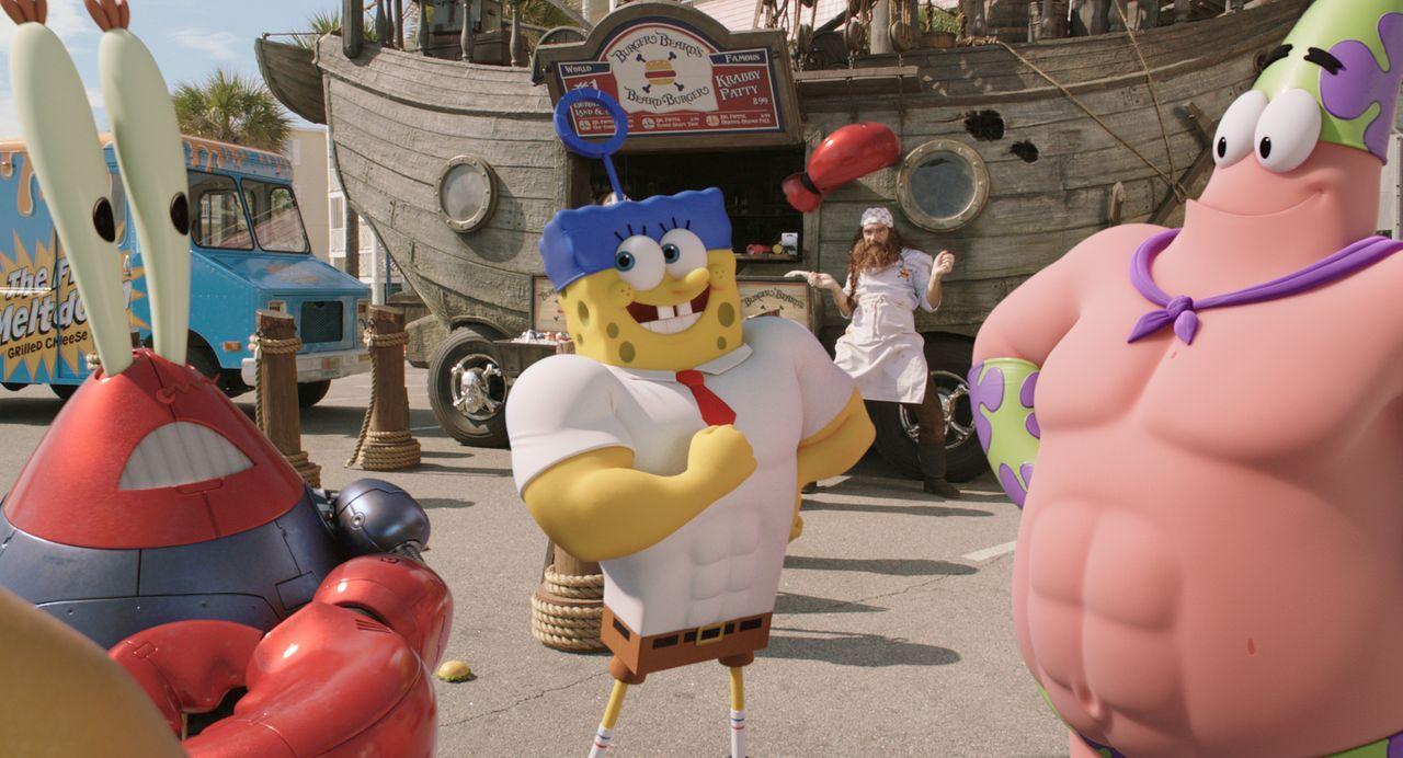 Mr. Krabs (l.), Spongebob (M.) und Patrick (r.) müssen es jenseits des Ozeans mit dem fiesen Piraten Burger-Bart aufnehmen. Können sie mit Hilfe von... - Bildquelle: (2016) Paramount Pictures and Viacom International Inc. All Rights Reserved. SPONGEBOB SQUAREPANTS is the trademark of Viacom International Inc.