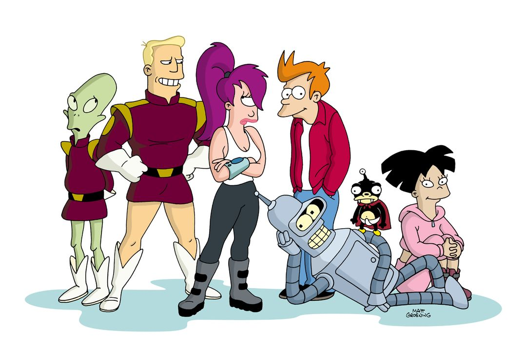 (8. Staffel) - Futurama - New York und die Welt im Jahr 3000: (v.l.n.r.) Kiff K., Zapp Brannigan, Leela, Fry, Bender, Nibbler und Amy ... - Bildquelle: 2003 Twentieth Century Fox Film Corporation. All rights reserved.