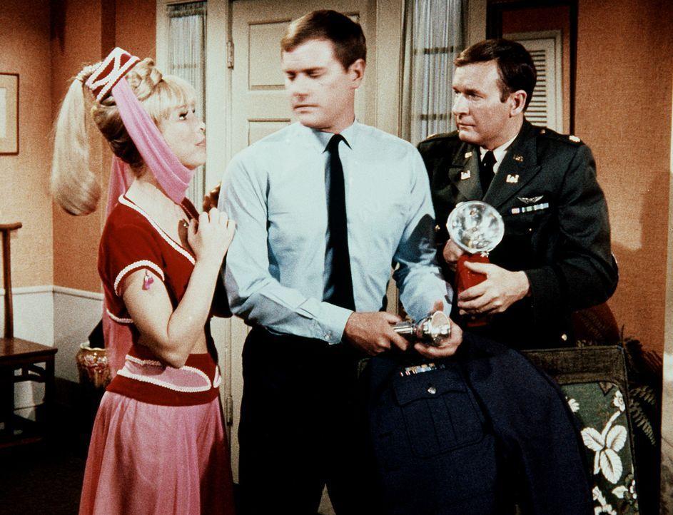 Tony (Larry Hagman, M.) und Roger (Bill Daily, r.) haben eine Wanze in Tonys Büro entdeckt, doch Jeannie (Barbara Eden, l.) soll sie nicht einfach wegblinzeln.