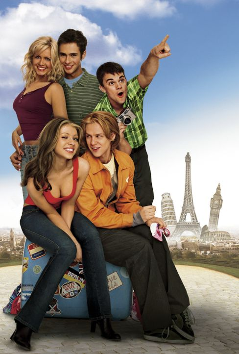 EuroTrip  - Artwork (mit (v.l.n.r.) Jessica Böhrs, Michelle Trachtenberg, Scott Mechlowicz, Jacob Pitts und Travis Wester) - Bildquelle: DreamWorks Distribution LLC