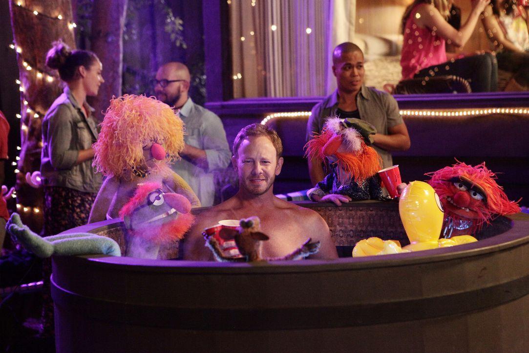 Die Muppets feiern Party mit Ian Ziering (M.) ... - Bildquelle: Nicole Wilder ABC Studios