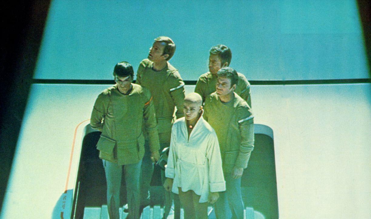 An Bord des fremden Raumschiffes: Spock (Leonard Nimoy, l.), Decker (Stephen Collins, 2.v.l.), Ilia (Persis Khambatta, M.), McCoy (DeForest Kelly, 2... - Bildquelle: Paramount Pictures
