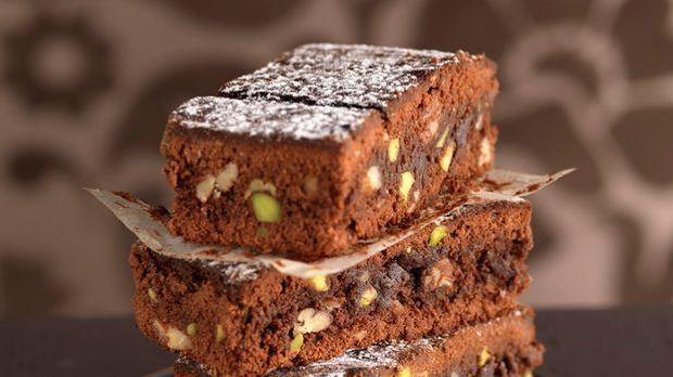 Leckere Stücken Pistazien-Brownies