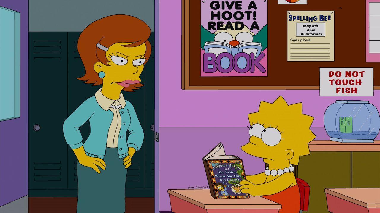 Während Homer und Ned in Streit geraten, wird Lisa (r.) von einer neuen Vertretungslehrerin (l.) ohne ersichtlichen Grund gequält ... - Bildquelle: und TM Twentieth Century Fox Film Corporation - Alle Rechte vorbehalten