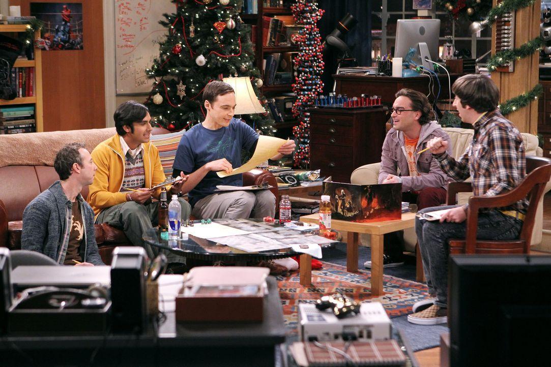 Geraten wegen eines Männerabends in Streit mit den Frauen: Howard (Simon Helberg, r.), Sheldon (Jim Parsons, M.), Leonard (Johnny Galecki, 2.v.r.),... - Bildquelle: Warner Bros. Television